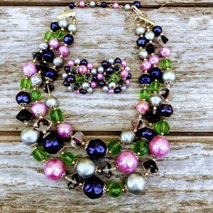 Vintage Glass Beaded 3 Strand Necklace Earrings
